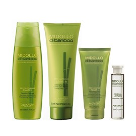 Kit Alfaparf Midollo Di Bamboo Shampoo - 250ml + Máscara Recharging - 150ml + Leave-in - 250ml + Ampola Renewal - 15ml