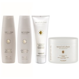 Kit Alfaparf Semi Di Lino Diamante Illuminating Shampoo + Condicionador + Leave-in - 250ml + Máscara - 500g