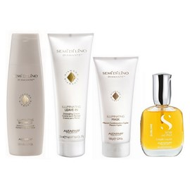 Kit Alfaparf Semi Di Lino Diamante Illuminating Shampoo + Leave-in - 250ml + Máscara - 150g + Óleo Cristalli Liquid 30ml