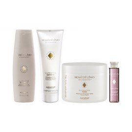 Kit Alfaparf Semi Di Lino Diamante Illuminating Shampoo + Leave-in - 250ml + Máscara - 500g + Ampola Shine Lotion - 15ml