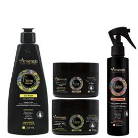 Kit Arvensis Cachos Naturais crespos e crespíssimos Co Wash 300ml + Máscara 250g + Geleia Ativadora 250g + Spray Day After 250ml
