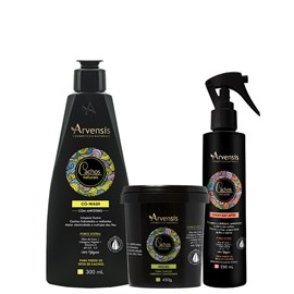 Kit Arvensis Cachos Naturais crespos e crespíssimos Co Wash 300ml + Máscara - 450g + Spray Day After 250ml