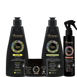 Kit Arvensis Cachos Naturais crespos e Crespíssimos Co Wash + Ativador 300ml + Geleia Ativadora 250g + Spray Day After 250ml