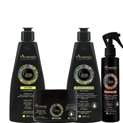 Kit Arvensis Cachos Naturais crespos e crespíssimos Co Wash + Ativador 300ml + Máscara - 250g + Spray Day After 250ml
