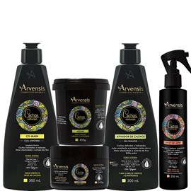 Kit Arvensis Cachos Naturais crespos e crespíssimos Co Wash + Ativador 300ml + Máscara 450g + Geleia Ativadora 250g + Spray Day After 250ml
