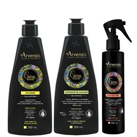 Kit Arvensis Cachos Naturais crespos e Crespíssimos Co Wash + Ativador - 300ml + Spray Day After 250ml