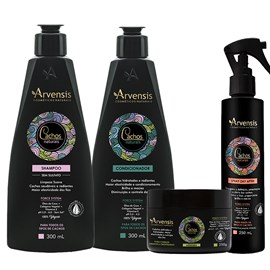 Kit Arvensis Cachos Naturais crespos e crespíssimos Shampoo + Condicionador 300ml + Máscara - 250g + Spray Day After 250ml