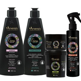 Kit Arvensis Cachos Naturais crespos e crespíssimos Shampoo + Condicionador 300ml + Máscara 450g + Geleia Ativadora 250g + Spray Day After 250ml