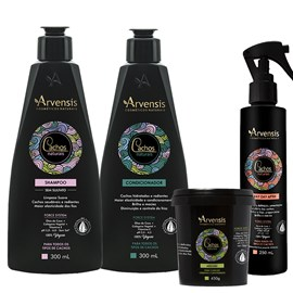 Kit Arvensis Cachos Naturais crespos e crespíssimos Shampoo + Condicionador 300ml + Máscara - 450g + Spray Day After 250ml
