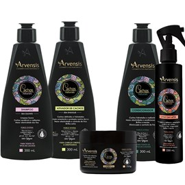 Kit Arvensis Cachos Naturais Crespos e Crespíssimos Shampoo + Condicionador + Ativador 300ml + Geleia Ativadora 250g + Spray Day After 250ml
