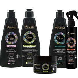 Kit Arvensis Cachos Naturais Crespos e Crespíssimos Shampoo + Condicionador + Ativador 300ml + Máscara - 250g + Spray Day After 250ml