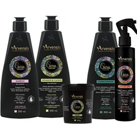Kit Arvensis Cachos Naturais crespos e crespíssimos Shampoo + Condicionador + Ativador 300ml + Máscara - 450g + Spray Day After 250ml