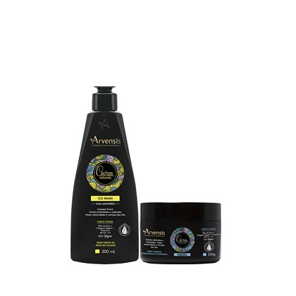 Kit Arvensis Cachos Naturais Ondulados e Cacheados Co Wash 300ml + Máscara 250g