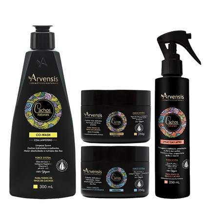 Kit Arvensis Cachos Naturais Ondulados e Cacheados Co Wash 300ml + Máscara 250g + Geleia Ativadora 250g + Spray Day After 250ml