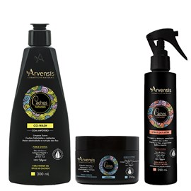 Kit Arvensis Cachos Naturais Ondulados e Cacheados Co Wash 300ml + Máscara - 250g + Spray Day After 250ml