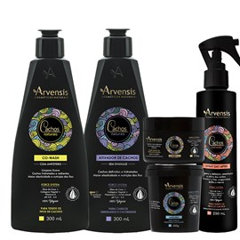 Kit Arvensis Cachos Naturais Ondulados e Cacheados Co Wash + Ativador 300ml + Máscara 450g + Geleia Ativadora 250g + Spray Day After 250ml