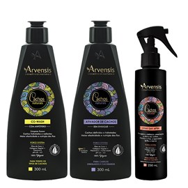 Kit Arvensis Cachos Naturais Ondulados e Cacheados Co Wash + Ativador - 300ml + Spray Day After 250ml