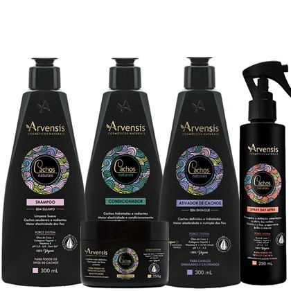 Kit Arvensis Cachos Naturais Ondulados e Cacheados Shampoo + Condicionador + Ativador 300ml + Geleia Ativadora 250g + Spray Day After 250ml
