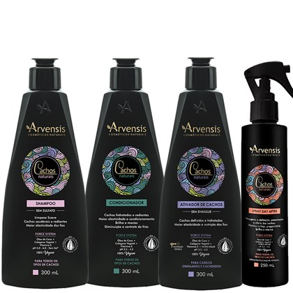Kit Arvensis Cachos Naturais Ondulados e Cacheados Shampoo + Condicionador + Ativador - 300ml + Spray Day After 250ml