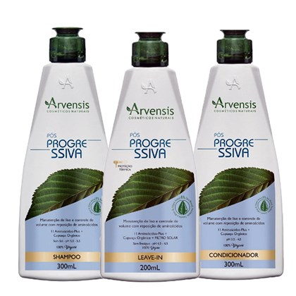 Kit Arvensis Pós Progressiva Shampoo + Condicionador 300ml + Leave-In 200ml