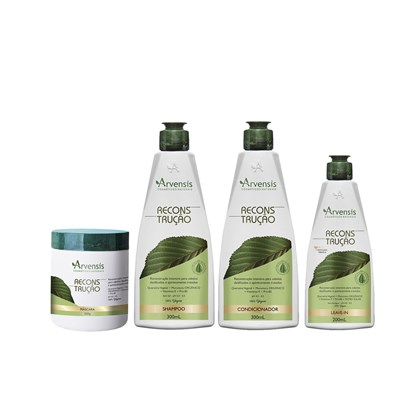 Kit Arvensis Reconstrução Shampoo + Condicionador 300ml + Leave-In 200ml + Máscara 500g