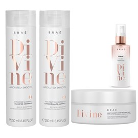 kit Braé Divine Anti Frizz Shampoo + Condicionador 250ml + Máscara Hidratação 200g + Sérum 60ml