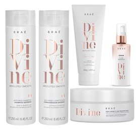 kit Braé Divine Anti Frizz Shampoo + Condicionador 250ml + Máscara Hidratação 200g + Sérum 60ml + Leave-In 10 em 1-200g