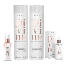kit Braé Divine Anti Frizz Shampoo + Condicionador 250ml + Máscara Líquida 60ml + Sérum 60ml