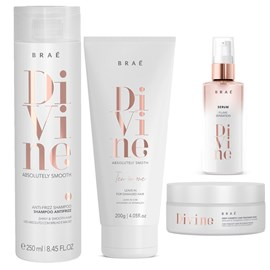 kit Braé Divine Anti Frizz Shampoo + Máscara Hidratação 200g + Sérum 60ml + Leave-In 10 em 1-200g
