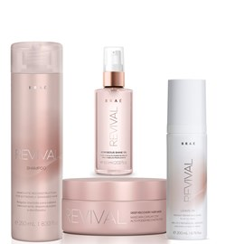 Kit Braé Revival Shampoo 250ml + Máscara 200g + Óleo Gorgeous Shine 60ml + Leave-In 200ml