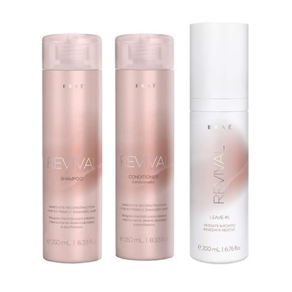 Kit Braé Revival Shampoo + Condicionador - 250ml + Leave-in - 200ml