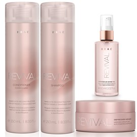 Kit Braé Revival Shampoo + Condicionador 250ml + Máscara 200g + Óleo Gorgeous Shine 60ml