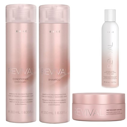 Kit Braé Revival Shampoo + Condicionador 250ml + Máscara 200g + Spray 150ml