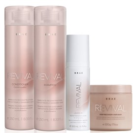Kit Braé Revival Shampoo + Condicionador 250ml + Máscara 500g + Leave-In 200ml