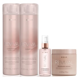 Kit Braé Revival Shampoo + Condicionador 250ml + Máscara 500g + Óleo Gorgeous Shine 60ml