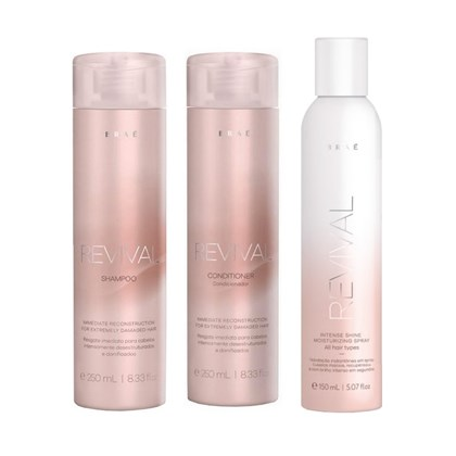 Kit Braé Revival Shampoo + Condicionador - 250ml + Spray Intense Shine - 150ml