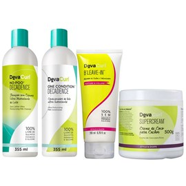 Kit Deva Curl Decadence No Poo, One Condition - 355ml + Supercream - 500g + BLeave-in - 200ml