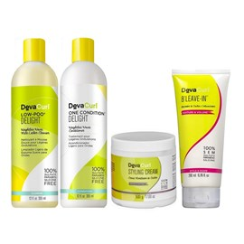 Kit Deva Curl Delight Low Poo, One Condition - 355ml + Styling Cream - 500g + BLeave-in - 200ml