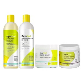 Kit Deva Curl Delight Low Poo, One Condition - 355ml + Styling Cream, Heaven in Hair - 500g