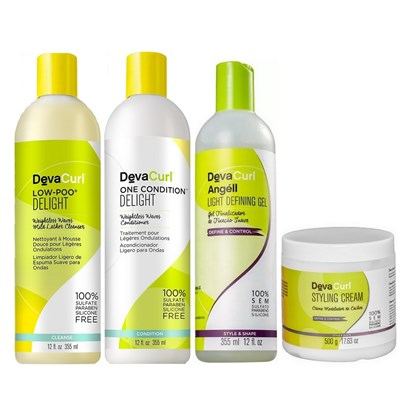 Kit Deva Curl Delight Low Poo, One Condition, Angéll - 355ml + Styling Cream - 500g