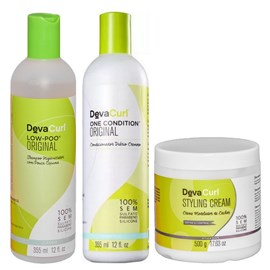 Kit Deva Curl Low Poo, One Condition - 355ml + Styling Cream - 500g