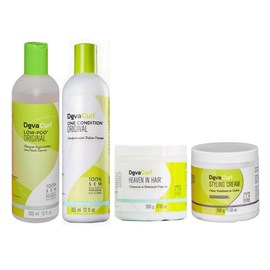 Kit Deva Curl Low Poo, One Condition - 355ml + Styling Cream, Heaven in Hair - 500g