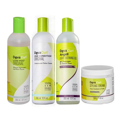 Kit Deva Curl Low Poo, One Condition, Angéll - 355ml + Styling Cream - 500g