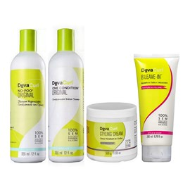 Kit Deva Curl No Poo, One Condition - 355ml + Styling Cream - 500g + BLeave-in - 200ml