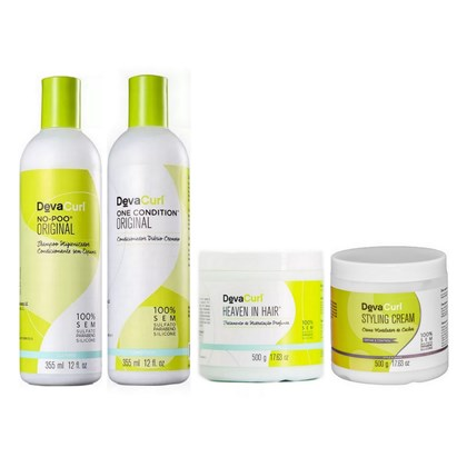 Kit Deva Curl No Poo, One Condition - 355ml + Styling Cream, Heaven in Hair - 500g