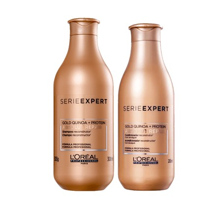 Kit Loreal Absolut Repair Gold Quinoa Reconstrutor Shampoo 300ml + Condicionador 200 ml