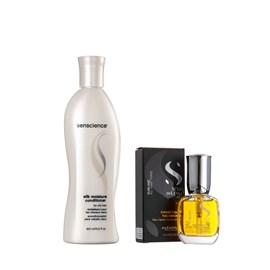 Kit Senscience Shampoo Silk Moisture 300ml + Cristalli Liquid Alfaparf Semi Di Lino - 15ml