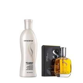 Kit Senscience Shampoo Silk Moisture 300ml + Cristalli Liquid Alfaparf Semi Di Lino - 50ml