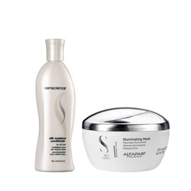 Kit Senscience Shampoo Silk Moisture 300ml + Máscara Alfaparf Semi Di Lino Illuminating - 200ml