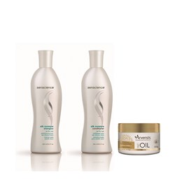 Kit Senscience Silk Moisture Shampoo + Cond 300ml + Máscara Arvensis Tec oil - 250g